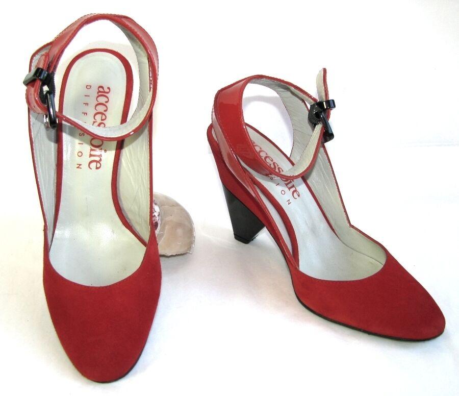 Descuento barato ACCESSOIRE DIFFUSION Sandales semi compensées tout cuir rouge 36 EXCELLENT ETAT