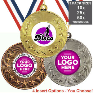 DISCO DANCE METAL MEDALS 50mm, PACK OF 10, RIBBONS INSERTS or OWN LOGO WITH TEXT