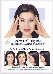 Instant Face, Neck and Eye Lift (Dark Hair) Facelift Tapes & Bands Secret Lift
