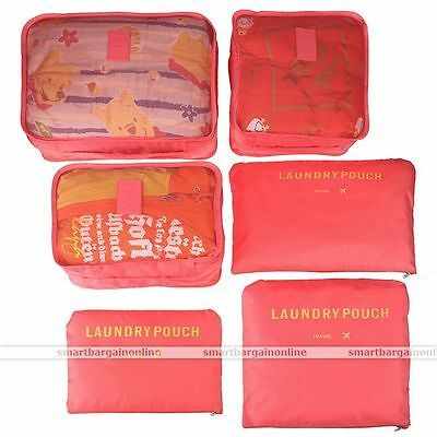 New Storage Pouches Suitcase Packing Bags Travel Luggage Organizer Backpack 6pcs