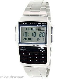 Casio-DBC32D-1A-Mens-Stainless-Steel-Data-Bank-Calculator-Watch-Telememo-25-NEW