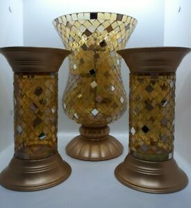PartyLite Gold Global Fusion Mosaic Hurricane Candle Holder Set With 2 Pillars