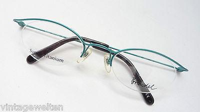 Vereinigt Brendel Zarte Titanbrille Gestell Nur Oberrand Nickelfrei Grün Cateye Grösse M