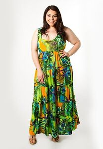 ebfca9e5ffd Plus Size Maxi Dress 1X-6X SWAK Tropical Empire Waist Sleeveless ...