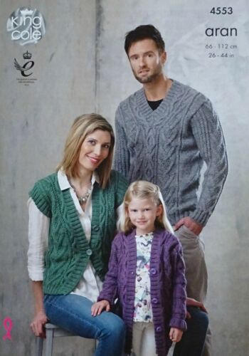 KNITTING PATTERN Ladies//Mens//Girls Cable Waistcoat Jumper /& Cardigan Aran 4553