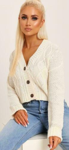 WOMENS LADIES SHORT CROPPED LENGTH 3 BUTTON CABLE KNITTED JUMPER CARDIGAN TOPS