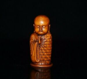 Collect Old Boxwood Japanese Netsuke carved monk buddha Statue figurines decor