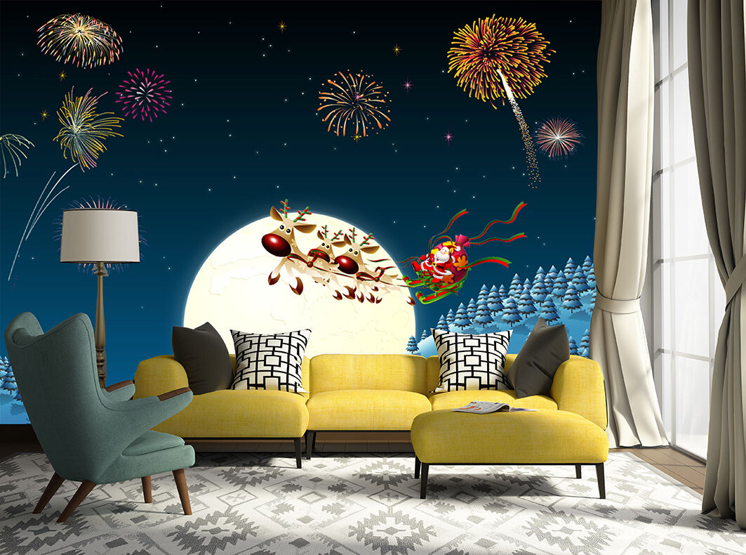 3D Christmas Fireworks WallPaper Murals Wall Print Decal Wall AJ WALLPAPER