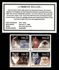 1988 - TRIBUTE TO CATS - # 2372-5 - Mint -MNH- Block of Four Postage Stamps