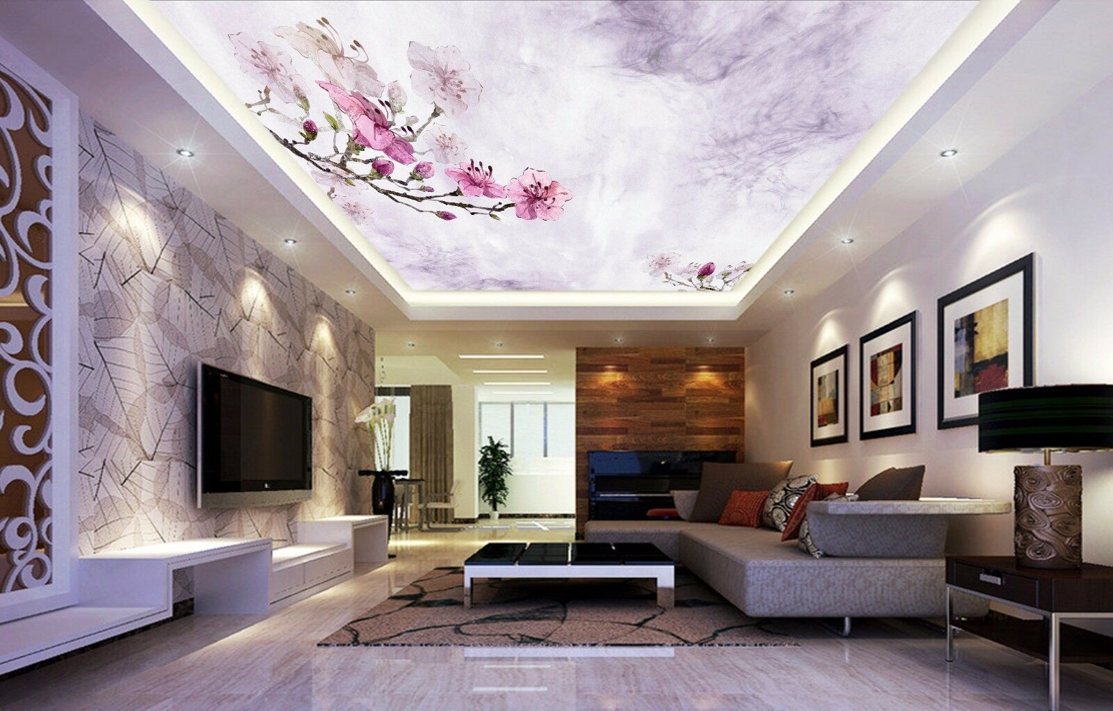 3D Hand Painted Flowers 533 Ceiling Wall Paper Print Wall Indoor Wall Murals CA