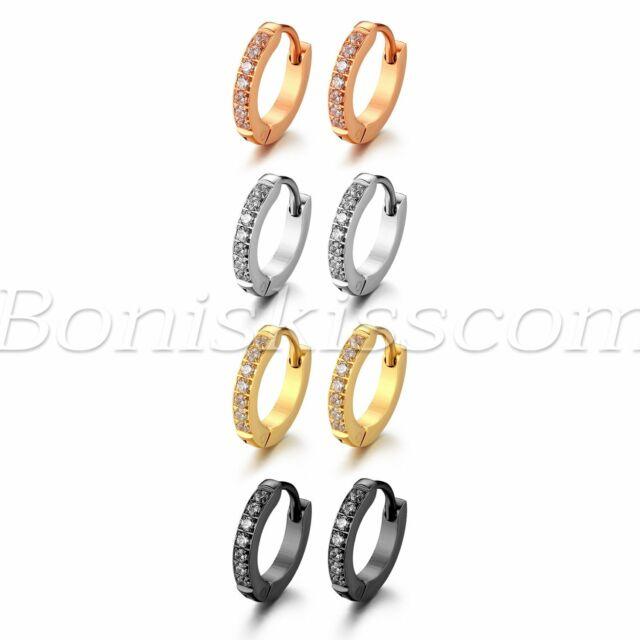 2pcs Stainless Steel Circle Beads Huggie Hinged Hoop Earrings for Men Women