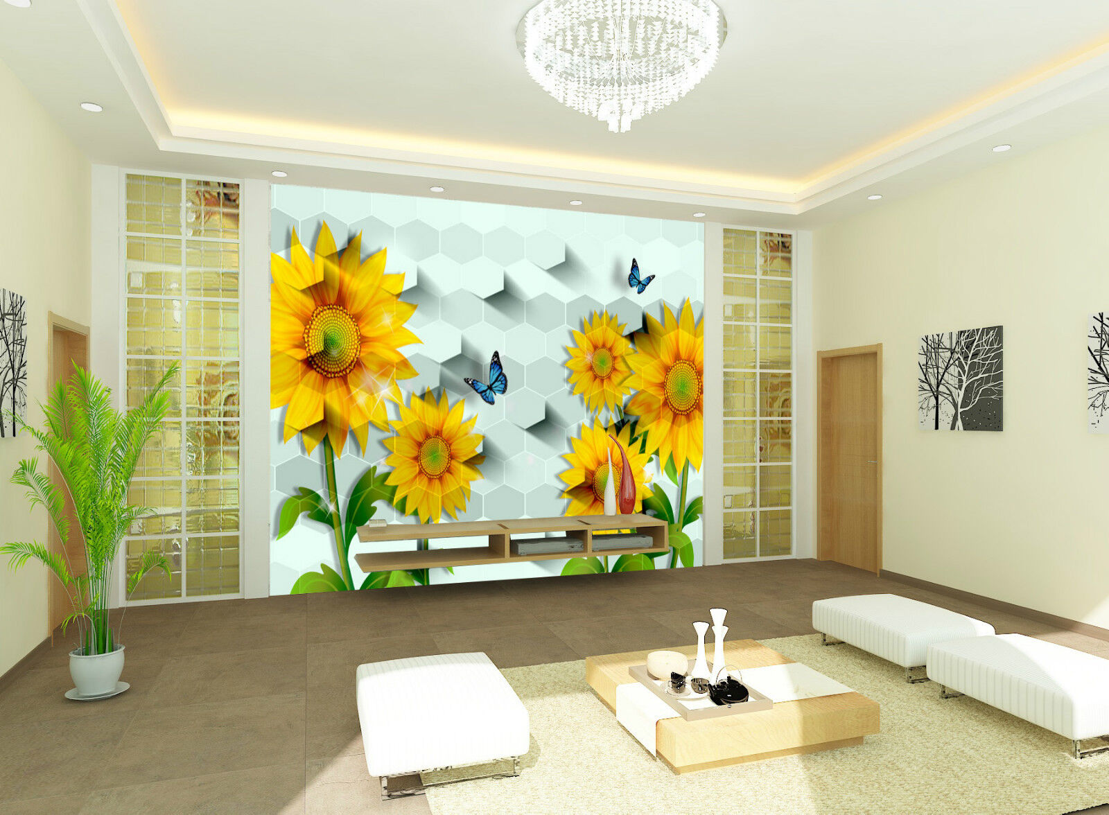 3D Sunflowers And Butterfly Wall Paper Wall Print Decal Wall AJ WALLPAPER CA