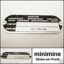 Classic Mini Chassis Plate Austin EARLY morris leyland bmc cooper rover 1275 998