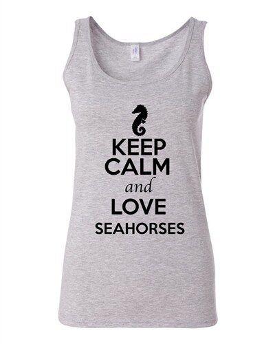 Junior Keep Calm And Love Seahorses Sea Horse Animal Lover Sleeveless Tank Tops