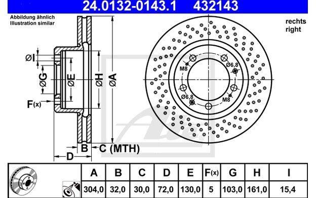 ATE Disco de freno x1 Antes 304mm Ventilador/perforado para PORSCHE