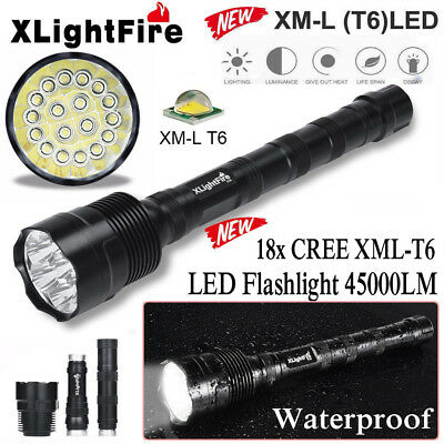 50000LM 18x XML T6 Tactical LED Flashlight Camping Outdoor Torch 6x 18650 Lamp