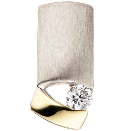 17,1 mm Anhänger 925 Silber bicolor vergoldet matt mattiert 1 Zirkonia Höhe ca