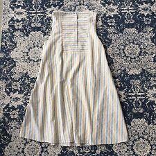 M New ANTHROPOLOGIE Women's Yellow Grey Stripe Pocket Button Back Dress MEDIUM