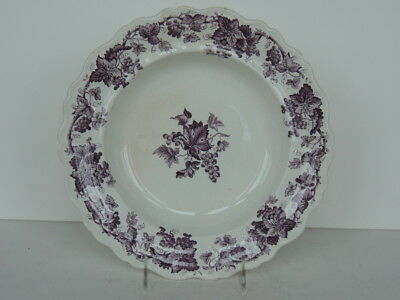 """Decorative Arts Lovely Antique Plum 10.5"""" Tansferware Bowl Staffordshire Fancy Grape Border Bracing Up The Whole System And Strengthening It Ceramics & Porcelain"""