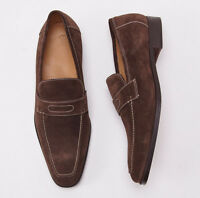 $900 Sutor Mantellassi Medium Brown Calf Suede Penny Loafer Us 11 D Shoes on sale