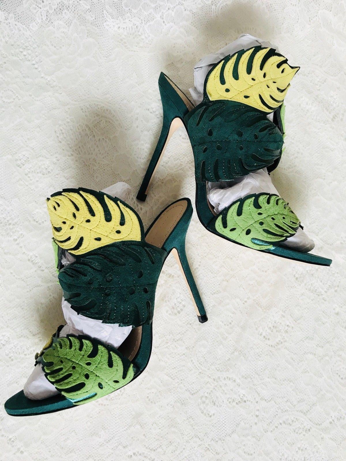 139 Zara WRAP-AROUND LEATHER LEAF SANDALS heels-green yellow-size 5-NEW