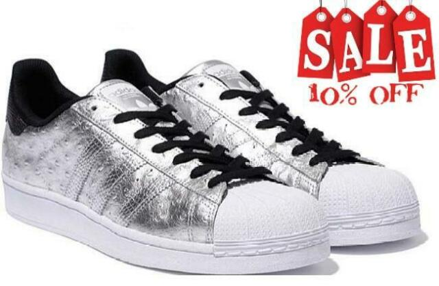 Mens adidas Superstar Silver Leather