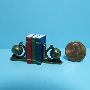 Dollhouse-Miniature-World-Globe-Bookends-with-3-Books-with-Pages-S1614