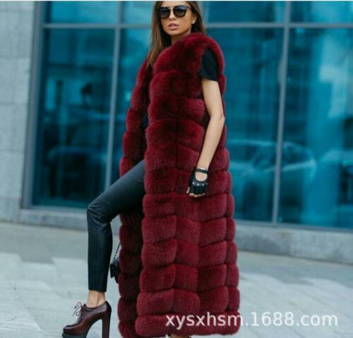 Varm Outwear Fox længde Jacket Frakke Fuld Luksus Vest Fur Kvinder Ermeløs Winter x8YfTU