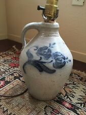 Rowe Pottery Lamp crock stoneware jug folk art vintage rustic decor lighting 80s
