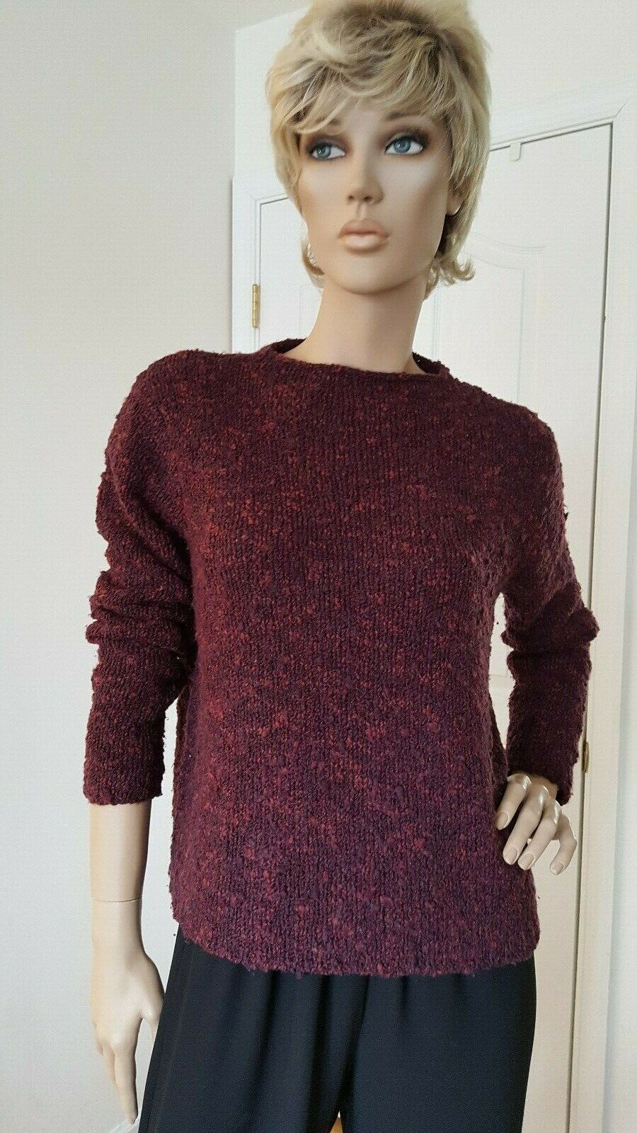 NWOT EILEEN FISHER BURGANDY MARLED BOX TOP SWEATER  SIZE S