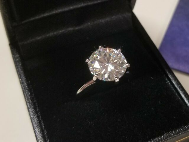 3.00 Carat 9mm Moissanite Ring 14K Gold by Charles & Colvard with warranty card