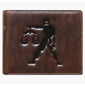 Unique Bi-Fold Brown Genuine Leather Wallet ID Credit Card Holder Zodiac LIBRA