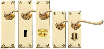 Latch or Bathroom sets Polished Brass Victorian Door Handle Lever Lock