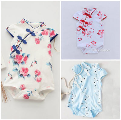 Kids infant Baby clothes girls daily bodysuit soft Chinese style jumpers floral