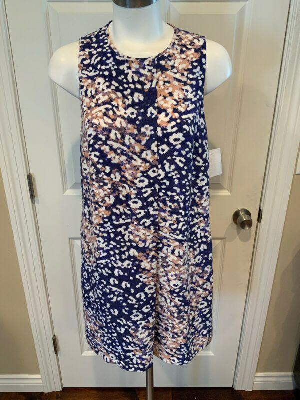 100% Wahr Catherine Malandrino Blau, Weiß, & Rosa Meliert Shift Kleid, Größe 6