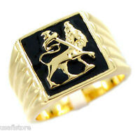 Mens Lion Of Judah Gold Plated Stainless Steel Ring