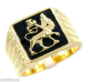 Mens-Lion-Of-Judah-Gold-Plated-Stainless-Steel-Ring