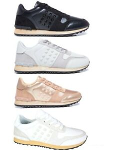 Femme-Rock-Clous-a-Lacets-Baskets-Sneakers-Fashion-Tennis-Filles-Chaussures