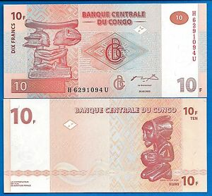 Congo-P-93-10-Francs-Date-30-06-2003-Uncirculated-Banknote