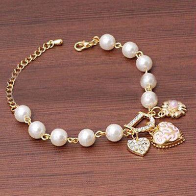 Women Jewelry Pearl Love Heart Flower Bracelet Bangle Charm Gift