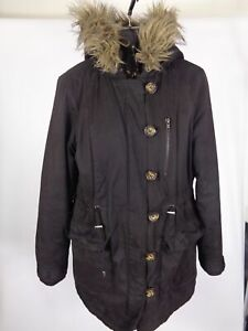 WOMENS-REDHERRING-BLACK-ZIP-UP-BUTTON-UP-COAT-JACKET-FAUX-FUR-HOODED-SIZE-10
