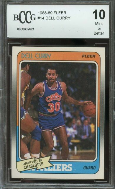 DELL CURRY AUTOGRAPHED 1988-89 FLEER ROOKIE CARD #14 CAVALIERS BECKETT 136697