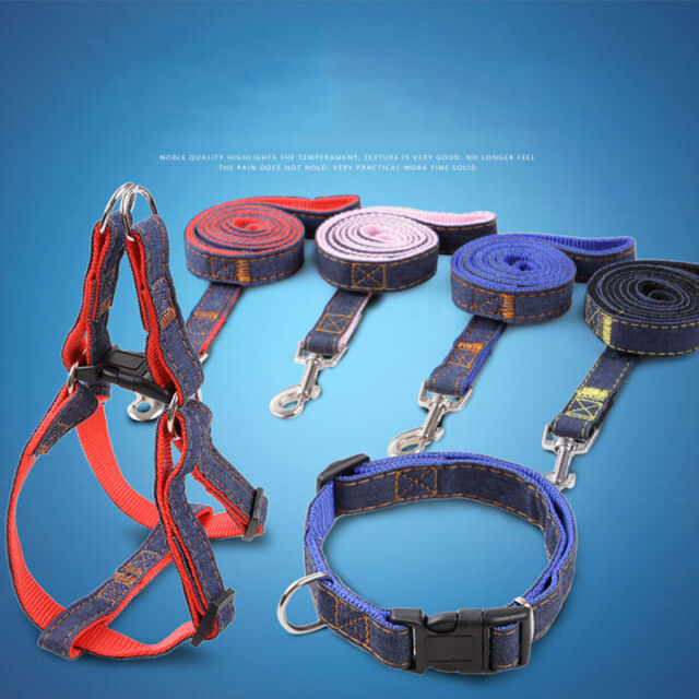 3Pcsset Dog Harness Collar Pets Durable Denim Breast -2557