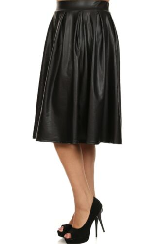 Plus Size Junior Misses High Waist Pleated A-Line Tea Skirt XL 2XL 3XL
