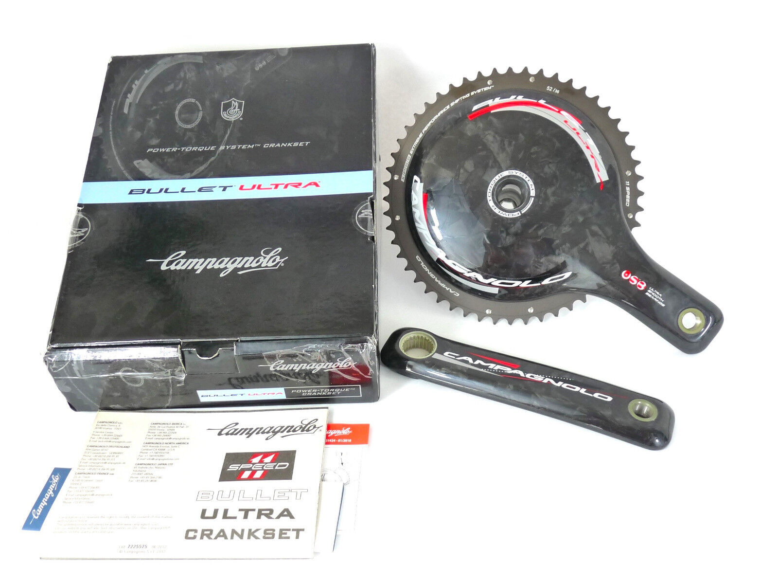 Campagnolo Bullet Crankset Carbon 11 Speed 170mm 52 36 CERAMIC  BEARING LAST NOS  be in great demand