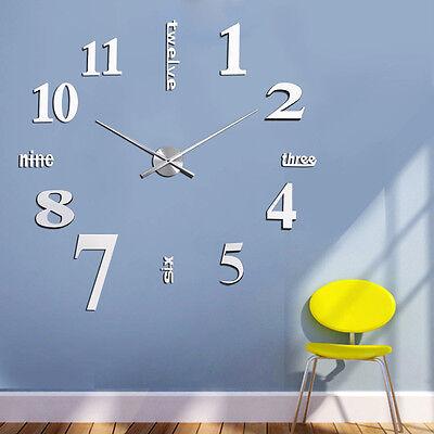 DIY Modern Luxurious Style 3D Acrylic Metal Big Silver Wall Clock Home Decor