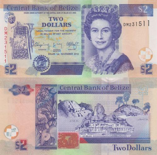 01.11.2014 QEII//Animals//Ruins//66e UNC Belize 2 Dollars