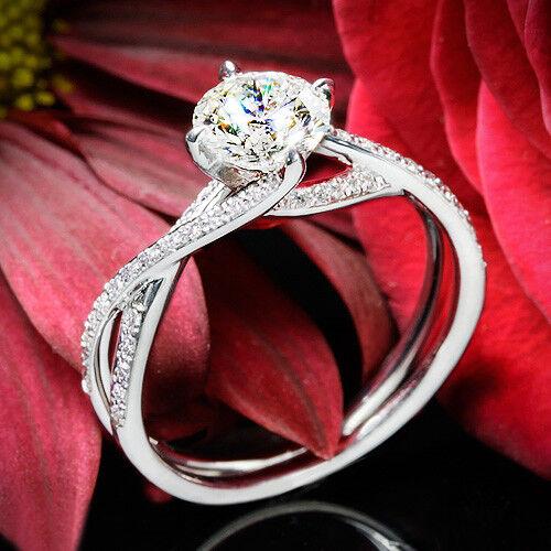 Womens Fancy Engagement Wedding Ring 1.25 CT Round Diamond 14K White Gold Finish
