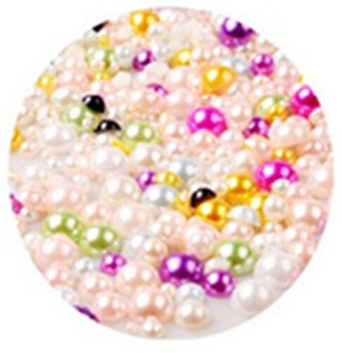 XI CA 1000pcs Half Round Bead Flat Back Acrylic Pearl Scrapbooking Embellishment
