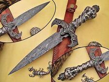 SDX CUTLERY HAND MADE DAMASCUS Skull Dragon Damascus Dagger Knife